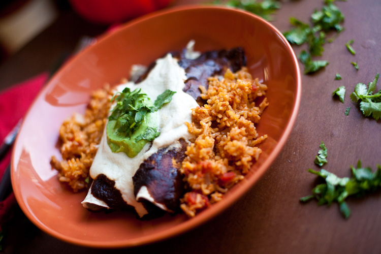 http://www.vegetariantimes.com/recipe/cheese-enchiladas-with-easy-mole-sauce/