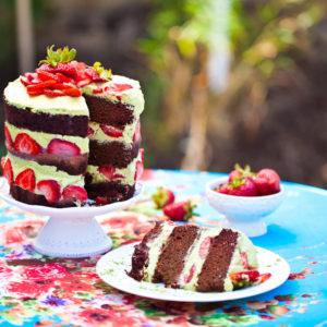 Vegan Chocolate Matcha Cake With Strawberries