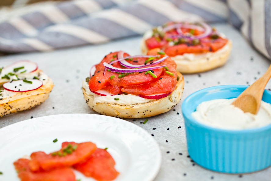 UNBELIEVABLE NY Style Bagels with easy cashew cream cheese and marinated tomato lox   Simple delicious recipe for breakfast or brunch