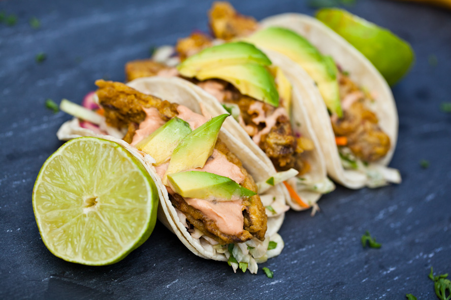 Vegan baja fish tacos with chipotle cream and cilantro for Making fish tacos
