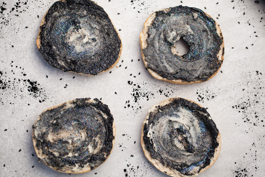 vegan galaxy bagels black tahin