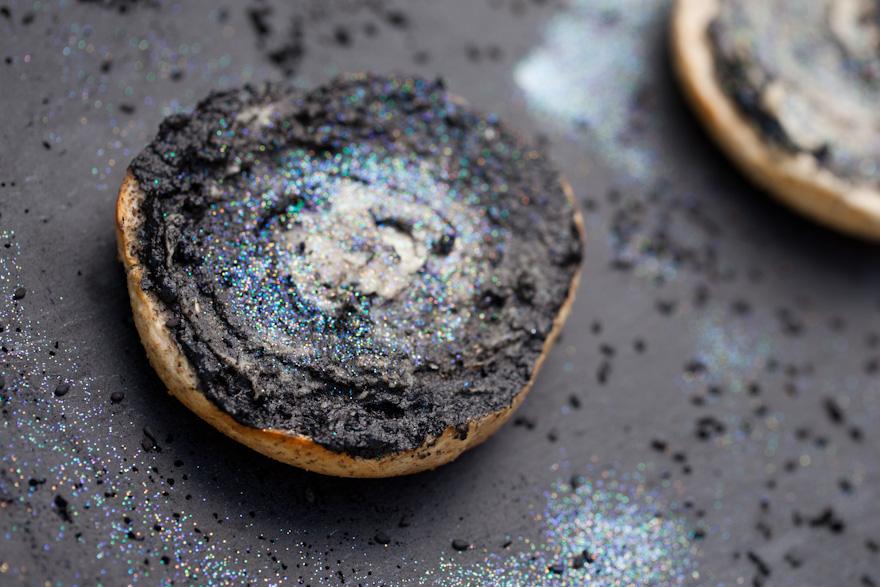 A MAGICAL and delicious vegan breakfast option! Galaxy bagels with Sweet Black Tahini and Vegan Cream Cheese