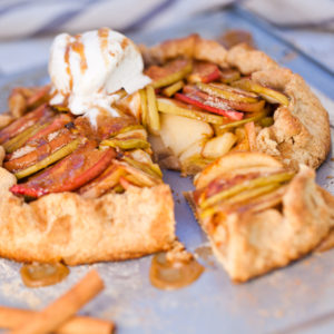 Whole Wheat Vegan Apple Galette with Salted Caramel Sauce - It's pie you can eat with your hands!