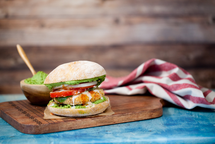 DELICIOUS Sweet Potato Falafel Burgers | An easy vegan dinner | Hearty healthy sandwich | Topped with parsley hummus and tahini | Mediterranean comfort food