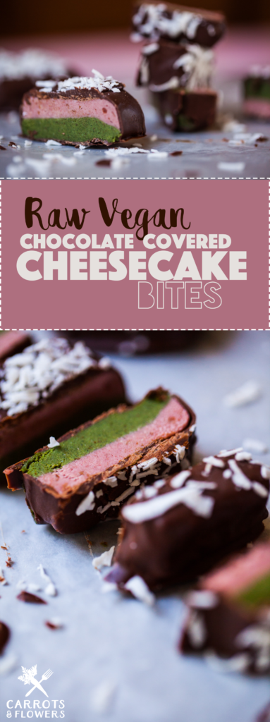 DELICIOUS raw vegan chocolate covered cheesecake bites | healthy + easy + gluten-free dessert recipe | layers of strawberry and matcha cheesecake covered in chocolate and shredded coconut