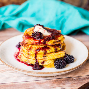 Vegan Buttermilk Cornbread Pancakes with Blackberry Syrup