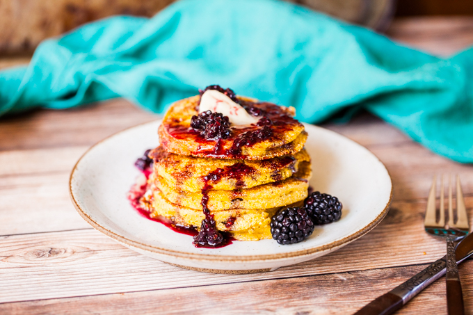 The BEST Vegan Buttermilk Cornbread Pancakes | Topped with blackberry syrup for the perfect breakfast or brunch | Sweet, savory, and refined sugar-free