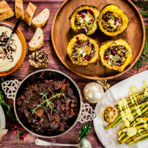 The PERFECT Vegan Christmas Dinner Menu! - Hearty main course, delicious sides, dessert, and cocktail | All plant-based recipes mostly gluten-free!