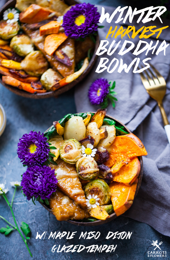 AMAZING harvest Buddha Bowls with Roasted Veggies, Maple Miso Glazed Tempeh over Kale with Maple Dijon Tahini | Healthy, Vegan, Gluten-free, Easy, Weekday Lunch or Dinner Recipe