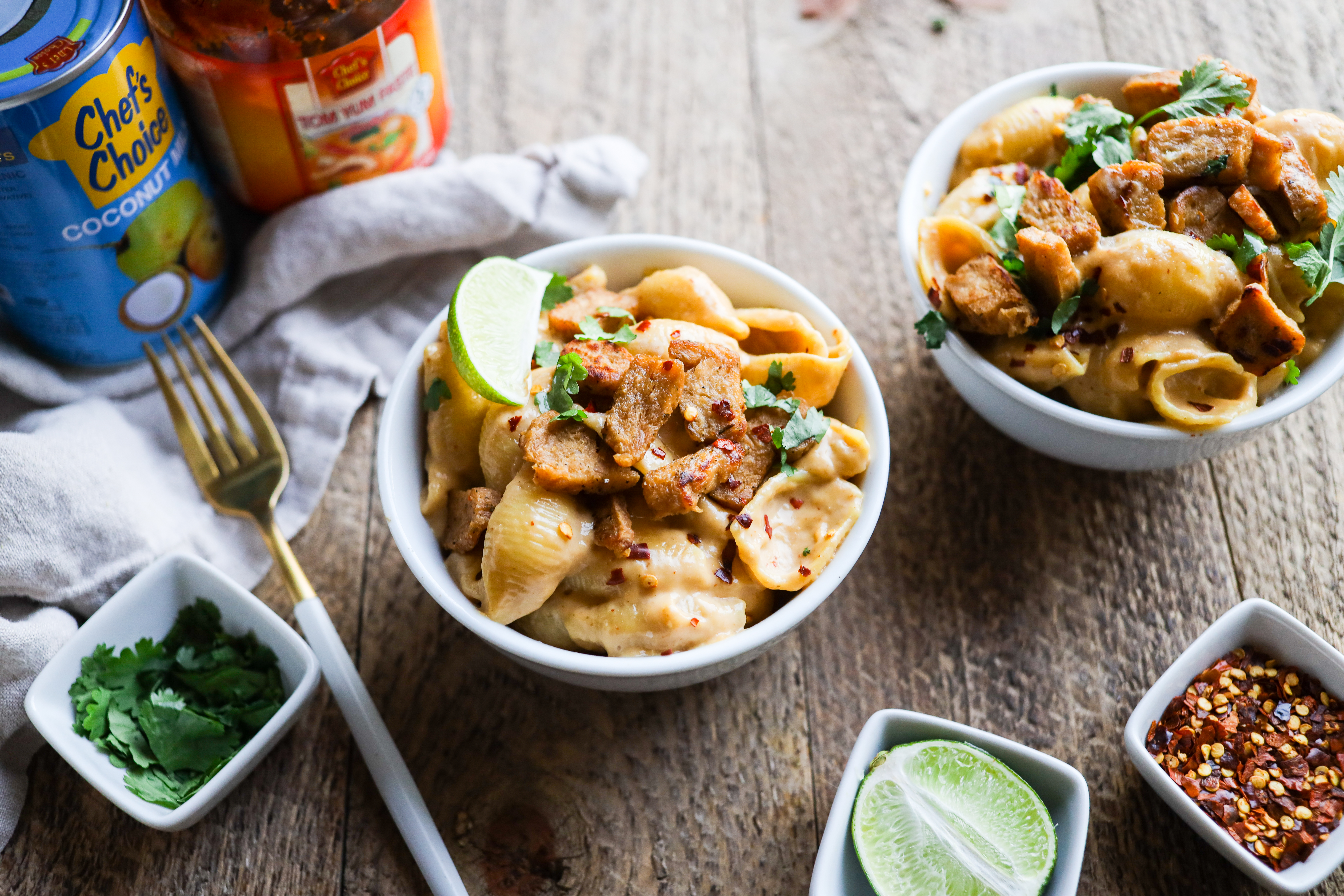 Creamy, flavorful Vegan Tom Yum Mac & Cheese! Kid-friendly and ready in just 20 minutes. #plantbased #glutenfree easy dinner recipe