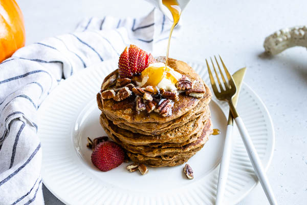 FLUFFY Vegan Sweet Potato Pecan Pancakes | Delicious easy breakfast brunch recipe | Plant-based